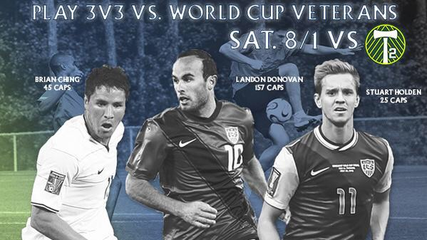 LANDON DONOVAN, BRIAN CHING, AND STUART HOLDEN TO PLAY 3V3  HALFTIME MATCH AT AZTEX GAME VERSUS FANS